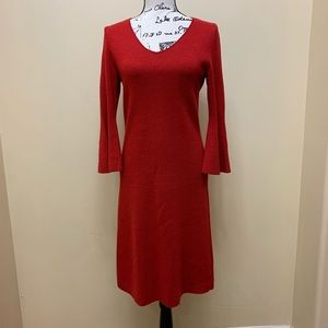Talbots Wool Dress With Bell Sleeves Size Small